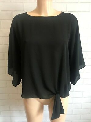 White Black Polka Batwing 3//4 Sleeves Tie Front Oversized Top Blouse Size S-XL