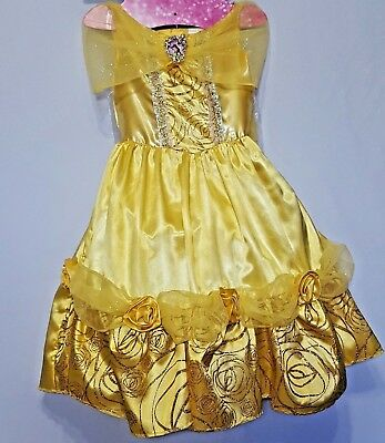 Disney Princess Belle Deluxe Child Costume With Wand and Headband Size S 4-6X