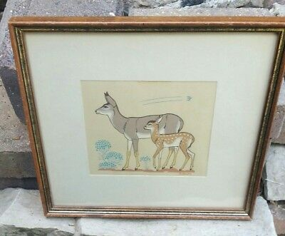 Vintage Harrison Begay Doe And Fawn Silk Screened Art Framed Matted 2 Deer Tewa