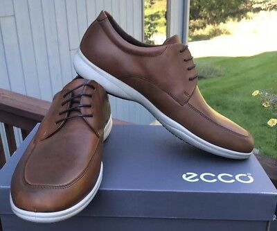 NEW IN BOX Men's ECCO Grenoble Leather Moc Lace Up in Cognac
