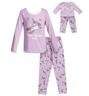 Dollie Me Girl 4-14 and Doll Matching Unicorn Pajama Set Outfit ft American Girl