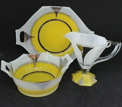 c 1930 Art Deco Moderne Classic Indiana Glass Silver and Yellow 3 piece set