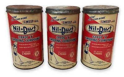 Lot 3 VTG 1940's Retro NIL DUST Sweeping Compound Containers Great Laundry Decor