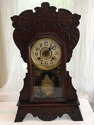 Antique New Haven Clock Co Oak Victorian Mantle Clock Fancy 1882 8 Day T & S GRO