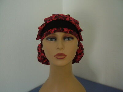 Bouffant/Ponytail Combo Surgical Scrub Hat - Floral