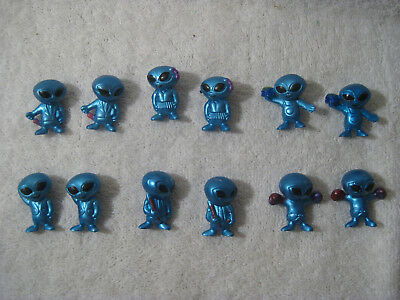 """ALIEN  Figures Lot Of 12 Classic Martian Toy 1"""" Tall ~~ Blue ~` 6 poses"""