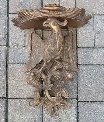 Antique American Eagle carved wall shelf corbel wooden gilt 19th c. vintage 16""