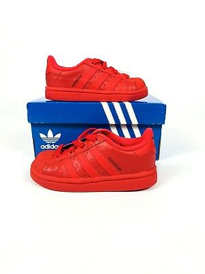 KIDS US 12.5 B27525 SHOES NEW KID/'S ADIDAS ORIGINALS SUPERSTAR TRIPLE RED PS