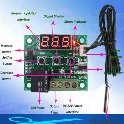 W1209 Temperature Control Digital Thermostat Relay Switch - 12V DC With Sensor