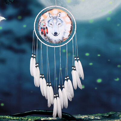 NEW Wolf Dream Catcher Feather Bead Hanging Decor Ornament With Feathers