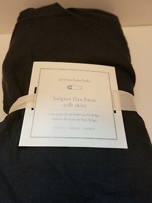 NEW Pottery Barn Kids Belgian Flax Linen Crib Skirt NAVY