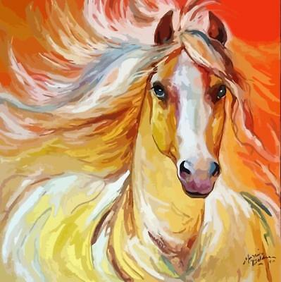 Framed Painting by Number kit Watercolour Horse Steed Wild Animal DIY JC7511