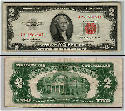 1953C $2 Dollar Bill Old Us Note Legal Tender Paper Money Currency Red Seal Z182