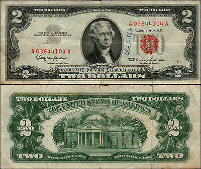 Old Vintage 1963 Series $2 Dollar Bill Red Seal United States Currency L Y-600