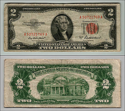 1953A $2 Dollar Bill Old Us Note Legal Tender Paper Money Currency Red Seal Q835