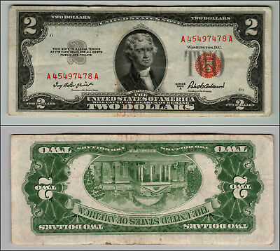 1953A $2 Dollar Bill Old Us Note Legal Tender Paper Money Currency Red Seal Z581