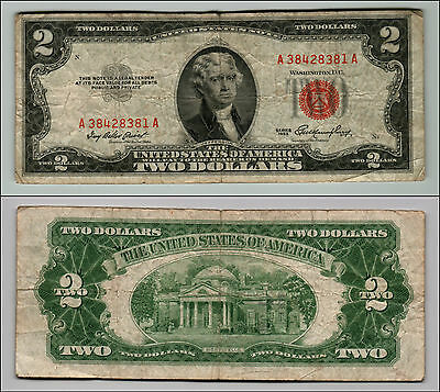 1- 1953 Series $2 Dollar Bill Red Seal United States Currency LOTZ265