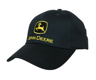 John Deere Black With Yellow Logo Authentic Twill Cap New