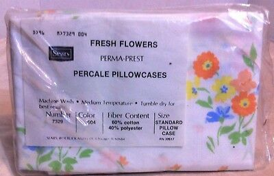 NEW Vintage Standard Pillowcases Sears Perma-Prest Percale Fresh Flowers