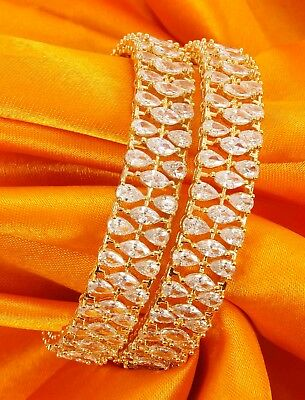 Indian American Diamond Bollywood Gold Plated Zircons Made Bangles Set Jewelry
