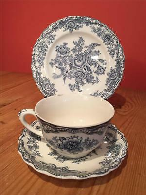 L08136 Vintage Crown Ducal Bristol Trio Cup Saucer and Side Plate  Blue & White