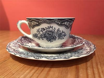 L08134 Vintage Crown Ducal Bristol Trio Cup Saucer and Side Plate  Blue & White