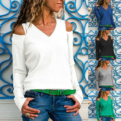 UK Womens Cold Shoulder Tops Blouse Ladies Casual Knitted Ribbed Sweater Jumper