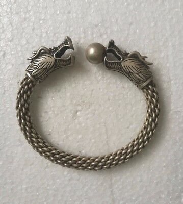 Vintage Collectible Old Tibet Silver Phoeniox Theme Beautiful Bracelet