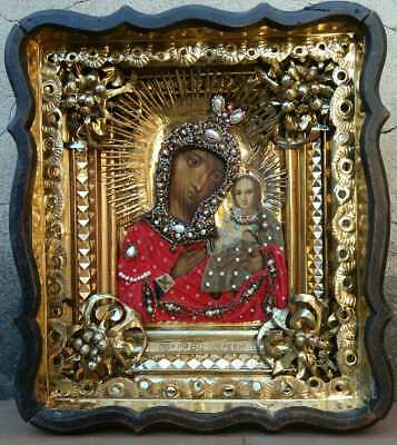 "Antique 19c Russian Hand Painted Wood Icon "" The Virgin of Iverskaya"""