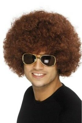 Brown afro wig, adult fancy dress accessory