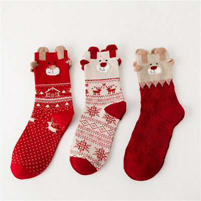 Women Men Christmas Socks Reindeer Santa Claus Snowman Winter Mid-Calf Socks Fun