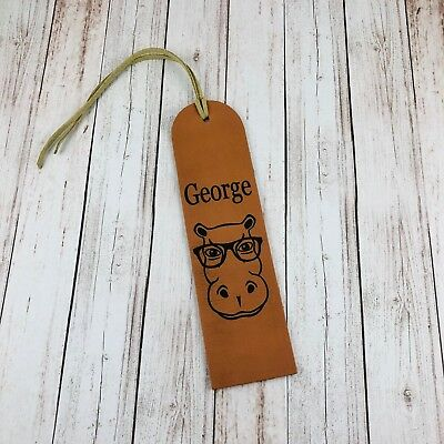 Personalised Leather Male Hippo Bookmark Wedding Gift Genuine 3rd Anniversary
