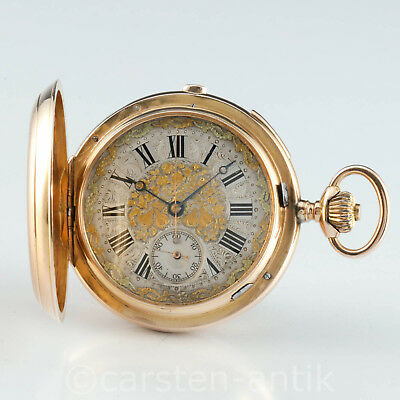 5,3 Oz Heavy Geneva 18k Gold 32 jewels hunter minute repeater & chronograph 1890