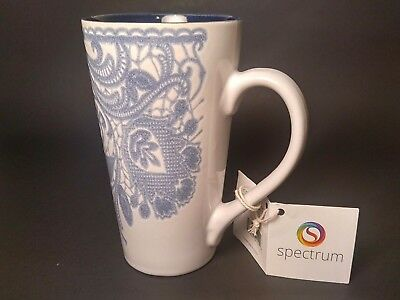 Coffee Mug Spectrum White and Blue Flower Floral New