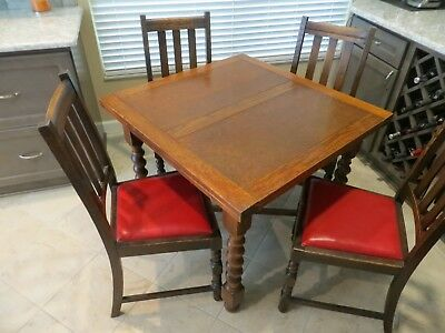 Antique English Oak Pub Table With Four Chairs