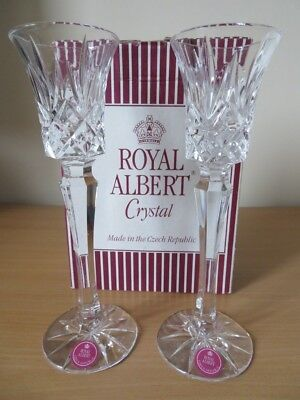 """PAIR ROYAL ALBERT CRYSTAL GLASS *Victoria* 8"""" CANDLE HOLDERS EXCELLENT BOXED CON"""