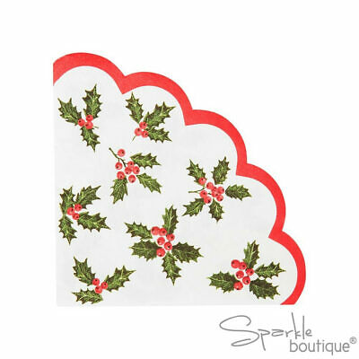 CHRISTMAS HOLLY NAPKINS - With Red Scalloped Edge - Botanical Xmas Party Range