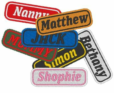 Personalised, Embroidered Name Tag, Patch. Your Name, Your Colours.