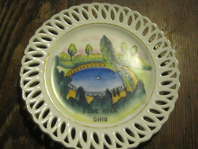 Blue Hole Castalia Ohio Souvenir Plate RETICULATED RIM MADE BY GNCO JAPAN