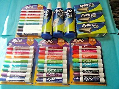 EXPO Low-Odor Dry Erase 32 vibrant Markers 3 Eraser & 3 Cleaner new free ship
