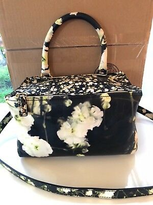 bf4fdbba5d Authentic GIVENCHY PANDORA FLORAL PRINTED SMALL BLACK LEATHER BAG  1790