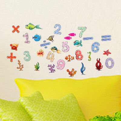 Removble Numbers Wall Sticker Fish Decals Kids Nursery Bedroom Home Decor Murals