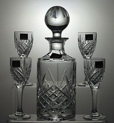 Royal Doulton Crystal Cut Glass Decanter & 4 Sherry Glass Set - Signed - Boxed