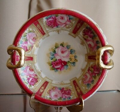 Antique Vintage Moriage Beaded Hand Painted Rose Gilt Nippon Dish Bowl