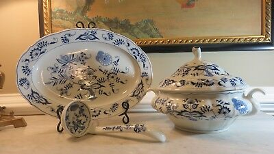 Blue Danube Large Round Soup Tureen With Lid Ladle and Underplate Platter MINT