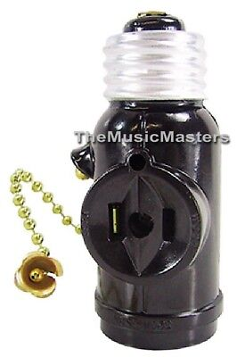 Lamp Socket Converter with 2 AC Outlets + Bulb Holder & Pull Chain Switch BROWN