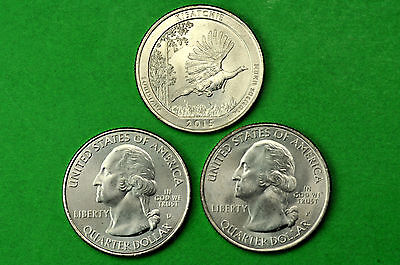2015-P D S  BU Mint State(Kisatchie National Forest)  US Park Quarter(3 Coins)