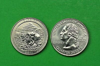 2011 P&D  BU Mint State (Glacier) US National Park Quarters ( 2 coins)