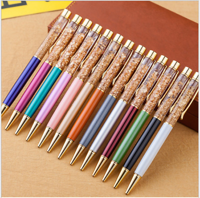10x Creatively Luxury Ballpoint flow oil crystal Gold foil Metal Copper color
