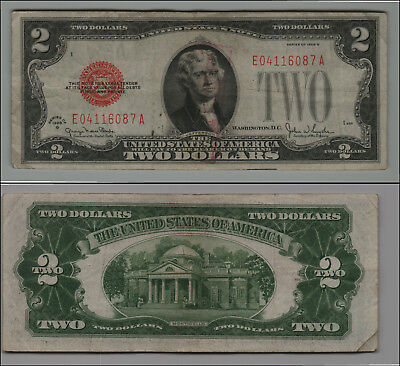 1928G $2 Dollar Bill Old Us Note Legal Tender Paper Money  Red Seal =B15